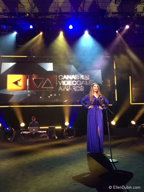 On stage at the Canadian Video Game Awards