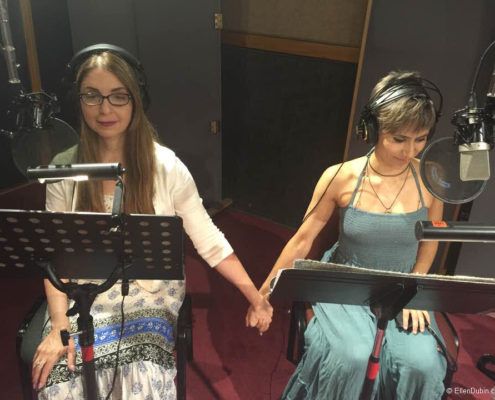 Ellen and Cristina Vee recording a radio drama about the holocaust